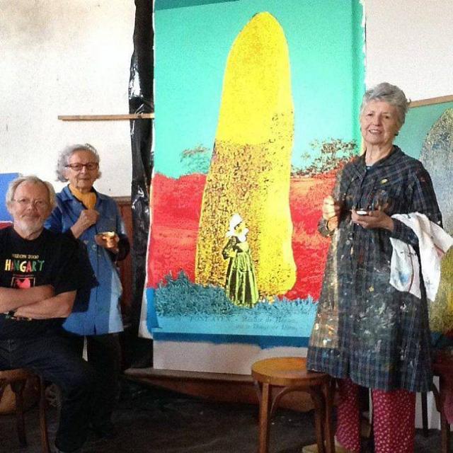 Le menhir de Kerangosker, à l'atelier du Croissant-Kergoz